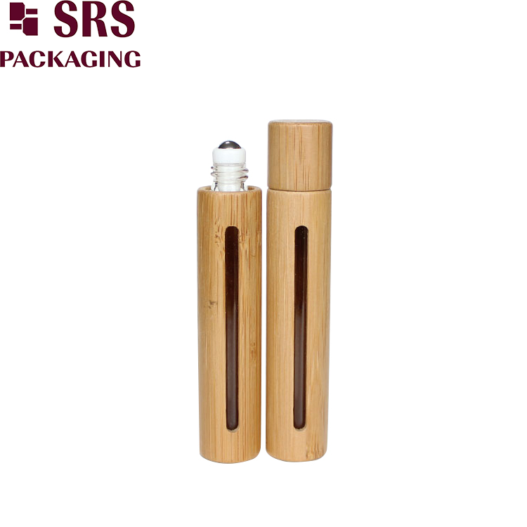 10ml empty bamboo glass roll on bottle with window